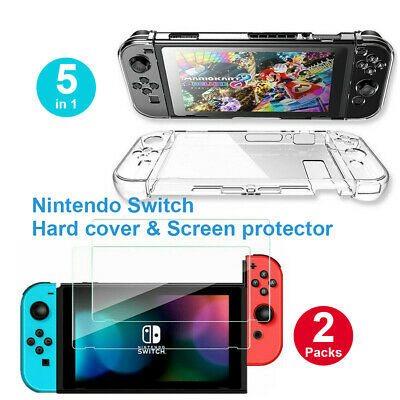 AU13.91 • Buy Transparent Shockproof Hard Case + 2x Clear Screen Protector For Nintendo Switch