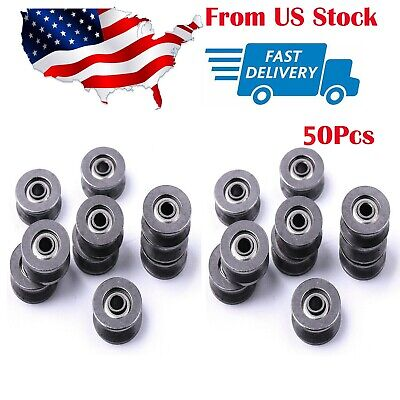 $12.78 • Buy 50 Pcs Deep V Groove Guide Pulley Rail Ball Bearings Wheel For Doors And Windows