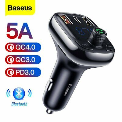 Baseus Bluetooth5.0 Car FM Transmitter MP3 Player 2USB Charger AUX Handsfree Kit • 14.29£
