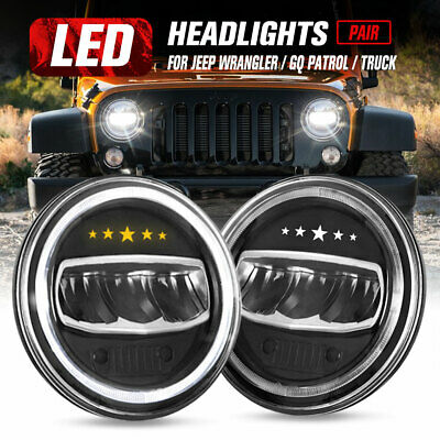 AU79.99 • Buy 2x 7 Inch LED Headlights Halo Hi-Lo Angel Eyes For Jeep Wrangler JK Patrol GQ