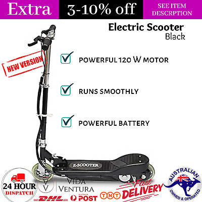 AU195.14 • Buy Portable Electric Scooter 120 W Black Collapsible Riding Scooter With Rear Brake