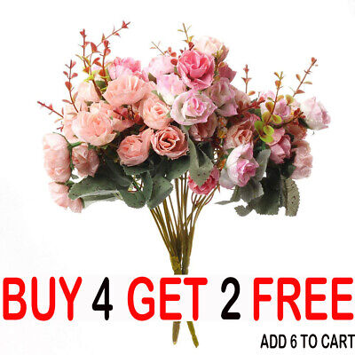 21HEADS ARTIFICIAL SILK SMALL FLOWERS ROSE BUNCH Wedding Home Outdoor Decor-YY • 3.93£