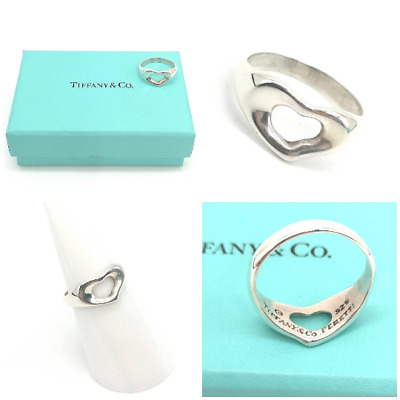 Authentic! Beautiful Tiffany & Co Elsa Peretti  Open Heart Ring Size K 1/2 • 104.99£