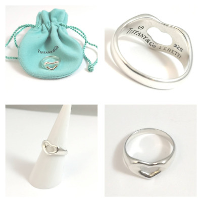 Authentic! Beautiful Silver Tiffany & Co Elsa Peretti  Open Heart Ring Size J • 104.99£