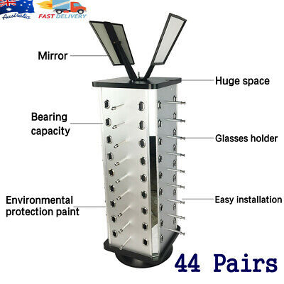 AU63 • Buy Rotating Glasses Display Stand Sunglasses Storage Holder W/ Mirror For 44 Pairs