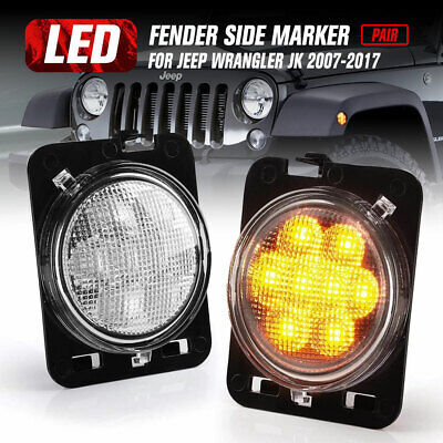 AU39.95 • Buy 2x Front Fender Side Marker LED Turn Light For Jeep Wrangler JK 2007-2017 Amber