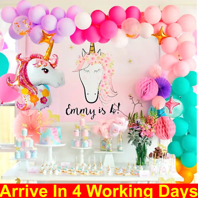 Unicorn Theme Foil Balloon Arch Rainbow Baby Shower Birthday Party Balloons Deco • 12.99£