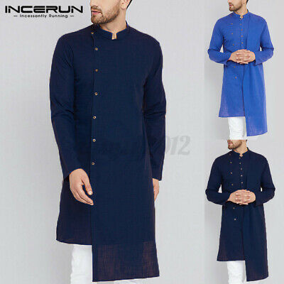 Mens Kurta Formal Shirt Irregular Hem Tunic Ethnic Long Sleeve Shirt Caftan Tops • 13.99£