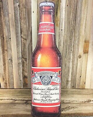 $ CDN63.24 • Buy Budweiser Bud Beer Bottle Large 36  Metal Embossed Aluminum Sign Bar Barn New