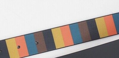 £65 • Buy NEW Paul Smith Mens Black And Bright Stripe Leather Reversible Belt 28