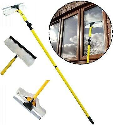 3.5m Telescopic Metal Window Cleaning Conservatory Glass Cleaner With Squeegee • 19.99£