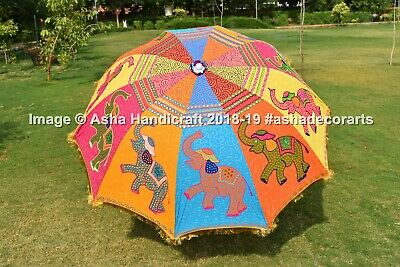 AU136.99 • Buy Stunning Elephant Up Trunk Indian Garden Parasol Umbrella Gold Lace Embroidered