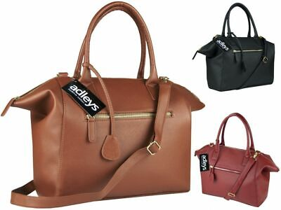 Classic Women Designer Handbag Ladies Faux Leather Tote Zipper Top Shoulder Bag • 6.99£