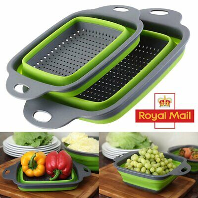 Kitchen Collapsible Colander Set Foldable Fruit Vegetable Strainer Drain Basket • 7.90£