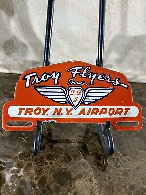 $ CDN118.67 • Buy Vintage ''troy Flyers''  License Plate Toppers 10 Inch Porcelain Sign