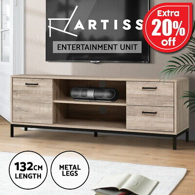 AU129.95 • Buy Artiss TV Cabinet Entertainment Unit Stand Industrial Wooden Metal 132cm Oak