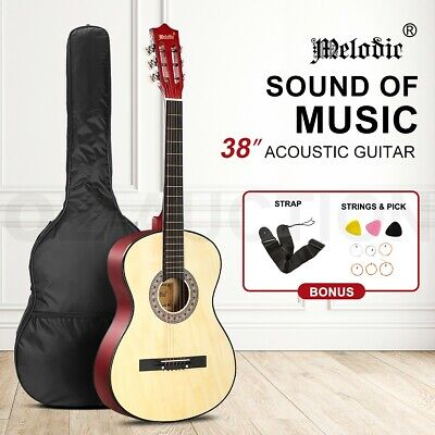 AU49.95 • Buy Melodic 38 Inch Acoustic Guitar Pack Classical Guitar Round W/Strings Bag Nature