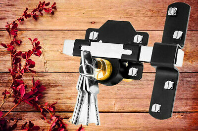 Concise Home Double Long Throw Gate Lock 5 Keys Garden Locking Both Sides • 19.29£