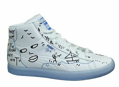 Puma Clyde X Shantell Martin Mid White Leather Lace Up Mens Trainers 365897 01 • 42.99£