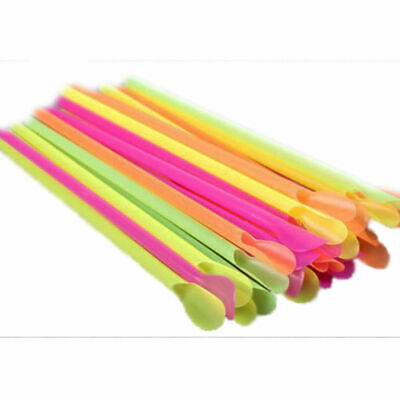 100 X Multicoloured Spoon Straws For Slush Puppie/Slushies  Parties Home Outdoor • 3.99£