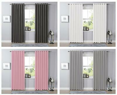 £12.95 • Buy Blackout Eyelet Curtains Black Out Thermal Ring Top Ready Made Curtain Pair