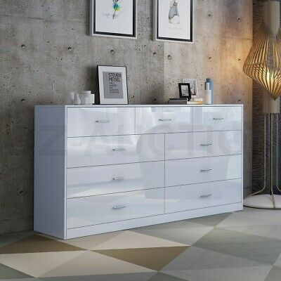 AU269.95 • Buy High Gloss 9 Chest Of Drawers Tallboy Dresser Table Storage Bedroom Cabinet WH