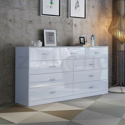 AU299.95 • Buy High Gloss 9 Chest Of Drawers Tallboy Dresser Table Storage Bedroom Cabinet WH