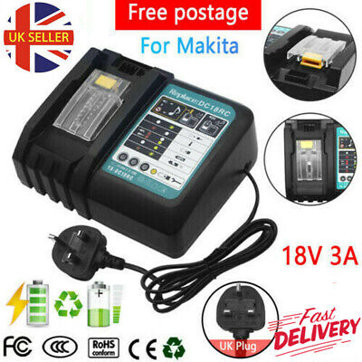 Replace Charger For Makita DC18RC 14.4-18V Lithium Battery BL1830 BL1840 BL1850 • 17.49£