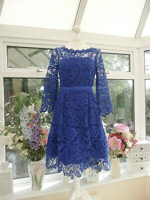 STUNNING *MONSOON* BLUE FLORAL CROCHET LACE FIT & FLARE PARTY DRESS Sz 8 • 24.95£
