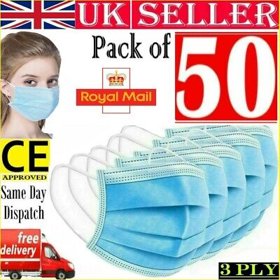50x Face Mask Surgical 3 Ply Disposable Mouth Guard Cover Face Masks Protection • 4.90£