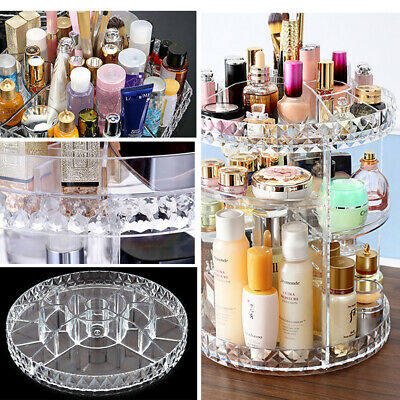 360° Swivel Makeup Organiser Clear Adjustable Cosmetic Perfume Display Stand Box • 10.95£