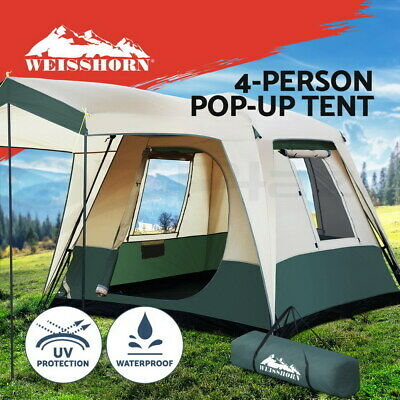 AU205.95 • Buy Weisshorn Camping Tent Instant Set Up 4 Person Pop Up Tents Hiking Dome Outdoor