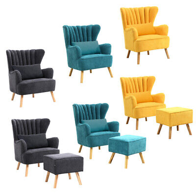 Chenille Fabric Scalloped Wing Back Chair Armchair And Footrest Stool Sofa Seat • 179.95£