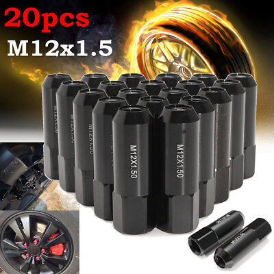 AU33.95 • Buy 20x M12X1.5MM 60mm BLACK OPEN END EXTENDED ALUMINUM TUNER RACING WHEEL LUG NUTS