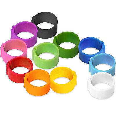 8mm - 25mm Mixed Colour Pack Click Poultry Leg Rings Bands Easy To Attach • 12.49£