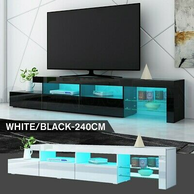 AU299.95 • Buy 240cm TV Stand Cabinet LED Entertainment Unit Gloss Wooden 3 Drawers White Black