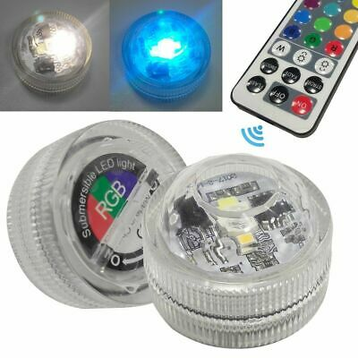 2 Submersible Underwater Waterproof Remote Control RGB Colored Decor LED Light   • 4.99£