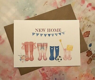 Personalised New Home Card / Gift / New Home / Welly / Congratulations / Family • 2.75£