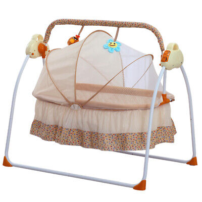 £89 • Buy Baby Cradle Swing Bluetooth Electric Rocking Music Remote Control Basket Bed+Mat