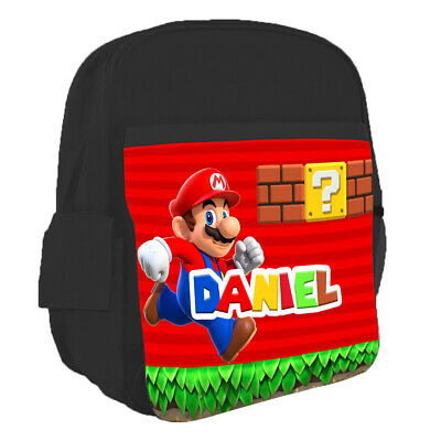 Personalised Kids Backpack Any Name Super Mario Design Children School Bag 7 • 16.99£