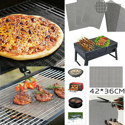 £3.76 • Buy BBQ Grill Mat Reusable Sheet Resistant Non-Stick Barbecue Bake Cooking YY