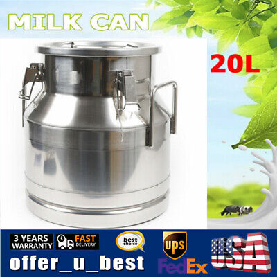 $92 • Buy 20L Stainless Milk Can Jug Bucket Wine Pail Bottle Liquid Storage Container