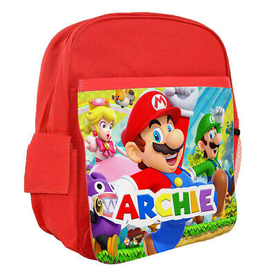 Personalised Kids Backpack Any Name Super Mario Design Children School Bag 4 • 16.99£