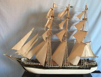 Vintage Hand Made Wooded Sailing Ship In Full Sail • 99£