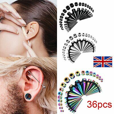 36pcs Metal Ear Taper Stretcher Tunnel Plugs Expander Kit Gauges Stretching Set • 11.99£