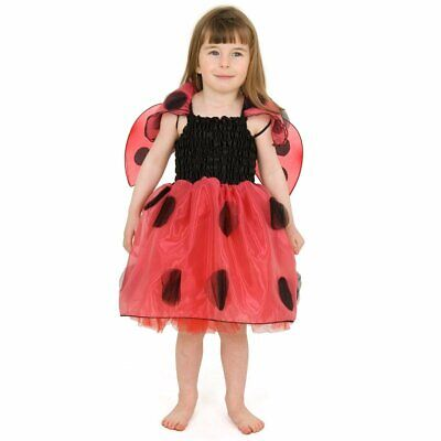 Ladybird Outfit Age 5 - 7 Kids Lady Bug Girls Fancy Dress Up Costume & Wings NEW • 6.99£