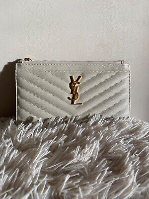 AU470 • Buy Ysl Pouch- Ivory Colour- New Without Tags- Box, Dust Bag And Authenticity Card I