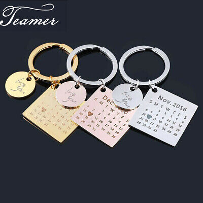 £3.99 • Buy Personalized Custom Name Calendar Engraving Date Heart Stainless Steel Key Chain