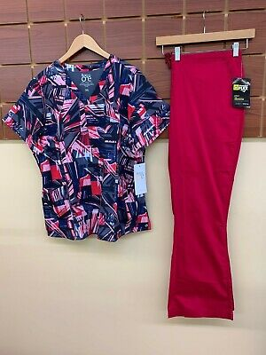 $17 • Buy NEW Crimson Print Scrubs Set With Barco 2XL Top & Wink 2XL Pants NWT