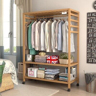 Wooden Clothes Rail Scarf Cap Hanging Garment Coat Rack Heavy Duty Rolling Stand • 49.93£